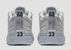The season of the Air Jordan 12 Low continues with the release of this new Wolf Grey colorway on March 18th 2017. This upcoming 2017 Jordan release features hints of navy and yellow on the heel-tab insoles and tongue alluding to Jordan Brands connection with Michigan.