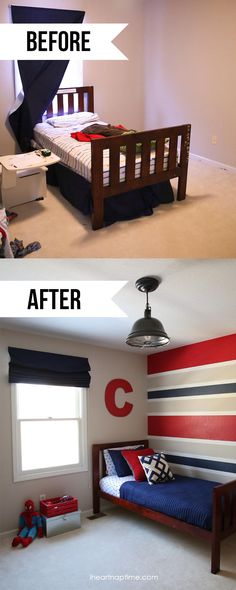 Beforea and after super hero room. (I like the color choice... it would grow with them, but maybe too subtle for a comic room?)