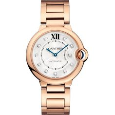 CARTIER Ballon Bleu de Cartier 18ct pink-gold and diamond watch ($30,650) ❤ liked on Polyvore featuring jewelry, watches, rose gold watches, automatic movement watches, rose gold jewelry, diamond jewellery and cartier jewelry