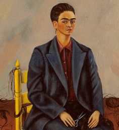 """Frida Kahlo (1907-1954), Self-Portrait with Cropped Hair, 15 3/4"""" x 11"""", Oil on canvas, 1940, MoMA 