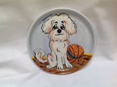 Hand Painted BICHON Dog Bowl  by Debby Carman Faux Paw Productions by FauxPawProductions on Etsy