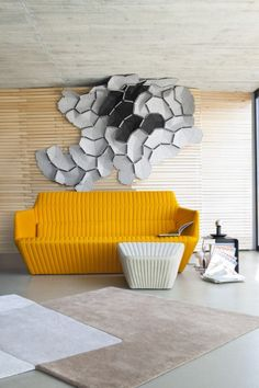 Mustard-colored quilted sofa, called Facett and designed by Rowan and Erwan Bouroullec for Ligne Roset Ligne Roset, Yellow Sofa, Italia Design, Paris Design, Fabric Sofa, Sofa Set, Interiores Design, A Boutique, Contemporary Furniture