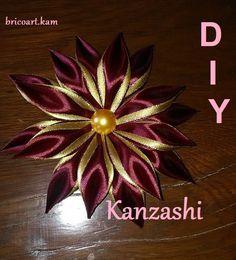 DIY/MK/Tutorial/Kanzashi flower red&gold - bricoart.kam
