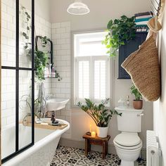 Inspiring small bathroom ideas and designs. Stylish and modern small bathroom designs. Freestanding Bath With Shower, Bathroom With Shower And Bath, Shower Over Bath, Small Bathroom Layout, Modern Small Bathrooms, Designs For Small Bathrooms, Small Bathroom Floor Plans, Small Bathroom Cabinets, Tranquil Bathroom