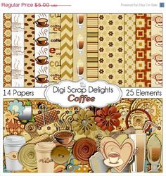 40 Off SALE Coffee Digital Scrapbook Kit by DigiScrapDelights, Clip art