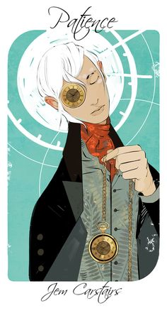 Cassandra Jean and I were discussing the seven deadly sins (lust, gluttony, greed, sloth, wrath, envy, and pride) and the seven virtues (chastity, temperance, charity, diligence, patience, kindness, humility) and it sparked a new project: which TMI/TID/TDA/TLH characters embody which virtues and vices? And who to embody patience better than Jem Carstairs?