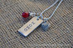 xoxo stamped necklace Valentine's Day by LoveSquaredDesigns, $25.00
