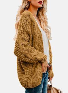 2019 Open Front Cardigan Sweaters Winter Autumn Women Sweater Knitted Long Sleeve Knitwear Casual Outerwear Tops Cardigan Women on AliExpress Chunky Knit Cardigan, Sweater Cardigan, Chunky Knits, Yellow Sweater, Winter Sweaters, Long Sweaters, Knit Sweaters, Sweaters Outfits, Gilet Long