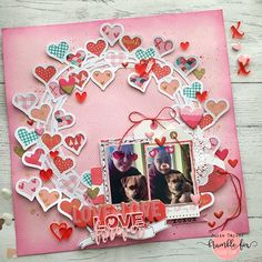 Sharing the love today with a page made for @bramblefox using a fab heart wreath cut file from @paigetaylorevans & backing all the hearts with @cratepaper Main Squeeze collection & adding lovely little heart perspextives & the love forever perspextive as my title  #bramblefoxbox #heylittlemagpie #paigetaylorevans #cratepaper