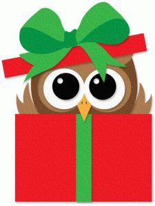CHRISTMAS OWL IN GIFT BOX CLIP ART
