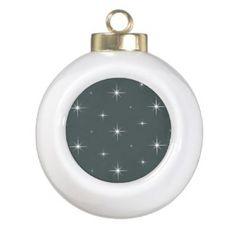 Hunter Green White Bright Stars Christmas Ornament