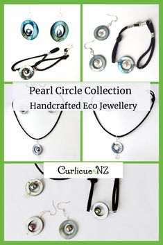 Hypoallergenic beach-themed jewellery featuring circles of blue coloured Mother of Pearl shell, with freshwater pearls in the centre on recycled Sterling silver wire and soft suede cord. Beautiful Gifts For Her, Kiwiana, Soft Suede, Circles, Gift Guide, Sterling Silver Jewelry, Spiral, Centre, Great Gifts