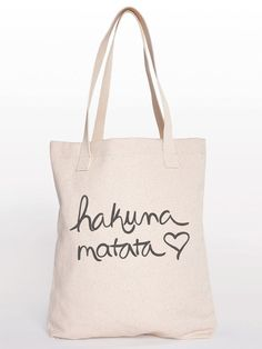 Hakuna Matata Cotton Shopping Bag Canvas Tote by KindLabel on Etsy, $24.00