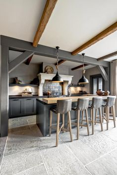 Good Interior and Loft Design Ideas in Industrial Style Home Decor Kitchen, Country Kitchen, Kitchen Interior, New Kitchen, Kitchen Dining, Loft Design, Küchen Design, Design Ideas, Interior Design