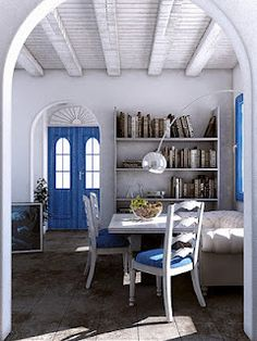 Rustic Elegance Home Theaters, Greek Decor, Greek Blue, Interior Styling,  Decor Interior