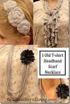 1 Old Gray T-Shirt turned into an easy to make Headband, Scarf & Necklace - No Sewing Required! How To Make Headbands, Diy Scarf, Old T Shirts, Crafty Craft, Crafting, Personalized T Shirts, Diy Clothing, Crafts To Do, Craft Gifts