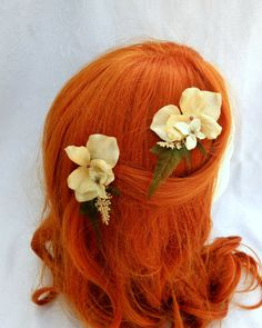 Ivory and Gold Hydrangea Hair Clips Set of Two by RuthNoreDesigns, $16.00