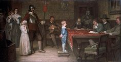 """Wm. Frederick Yeames' sentimental and beautifully rendered painting """"And when did you last see your father?"""" shows a young Royalist boy standing fearlessly in front of the Puritan Roundhead soldiers trying to trip him up about where his father is hiding."""