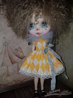 Short dress adorned with bow and black tulle collar. Dress is tea dyed and stained to give it vintage look.  Presented by Nina.   This listing is for dress and collar only - the doll and other props are not included.   *Shipping from Poland, so it can take up to 7-21 days. Sent