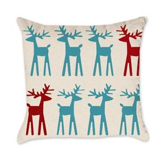 Christmas Reindeer Pillow Cover - Cotton Duck Natural Throw Pillow Cover Turquoise and Red