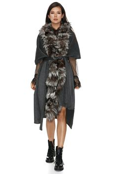 Sophisticated and practical this Milano style grey coat with fox fur is the perfect finishing touch to every look. Fox Fur Coat, Wool Coat, Grey Fashion, Jackets Online, Fur Collars, Femininity, Clothes For Sale, Glamour, Silhouette