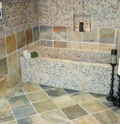 slate tile bathroom | Natural Stone Slate Room Scenes