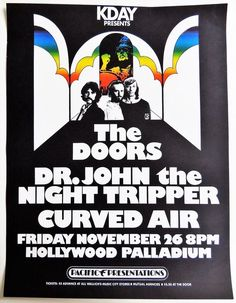 """Hippie Dance Concert """"The Doors"""" 1971 Hollywood California Poster Rock Posters, Concert Posters, Los Angeles California, California Usa, Curved Air, Best Rock, Hollywood California, Jim Morrison, Classic Rock"""