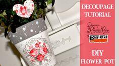 DIY flower pot TUTORIAL DECOUPAGE
