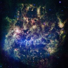 Large Magellanic Cloud - by Deep Space Photography - This vibrant infrared image from NASA's Spitzer Space Telescope shows the Large Magellanic Cloud, a satellite galaxy to our own Milky Way galaxy. Located160,000 light-years from Earth, it is one of a handful of dwarf galaxies that orbit the Milky Way.