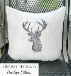 Create a gorgeous Deer Silhouette Burlap Pillow with this super easy tutorial! A Sharpie is all you need! Full instructions at LoveGrowsWild.com