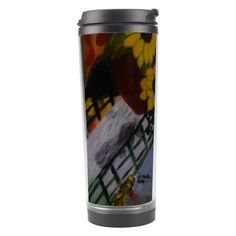 This insulated travel tumbler designed from the original paintings of Jocelyn Apple comes with a non-spill lid, holds up to 450 ml and is made of plastic exterior and stainl...