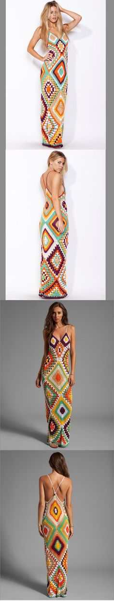 CROCHET FASHION TRENDS - exclusive crochet maxi dress - firework colors - made to order