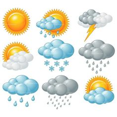 Buy Weather Icons by Dazdraperma on GraphicRiver. Nine weather related icons. Free Printable Clip Art, Free Printables, Weather Symbols For Kids, Weather Song, Windy Weather, Crafts For Kids, Arts And Crafts, Dementia Activities, Weather Activities