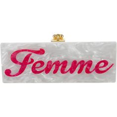 Pre-owned Edie Parker 'Femme' Flavia Clutch ($795) ❤ liked on Polyvore featuring bags, handbags, clutches, white, kiss-lock handbags, man bag, preowned handbags, edie parker and white handbags