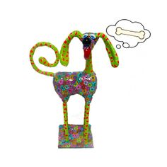 Dog sculpture floral and polka  dots pattern made with by MIRAKRIS, $150.00
