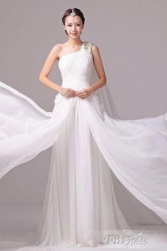 Favorite Charming A-line One-shoulder Train Floor-length Wedding Gown Cute  Wedding 3c71e36c8370