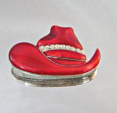 Vintage Red Hat Brooch Rhinestone Cowboy by waalaa on Etsy, $19.99