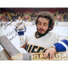 Autograph Warehouse 378001 8 x 10 in. Slap Shot Autographed Photo - Charlestown Chiefs Goaltender Yvone Barrette Image No.SC3 Inscribed Trade Me Right Now, As Shown