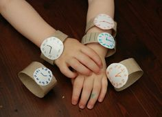 Cardboard Tube Toddler Watch Help your toddler turn an empty cardboard tube into a cool watch. This easy craft is great for pretend play and preparation for learning to tell time. The post Cardboard Tube Toddler Watch was featured on Fun Family Crafts. Quick And Easy Crafts, Crafts To Make, Crafts For Kids, Diy Toys And Games, Diy Games, Papier Kind, Babysitting Activities, Paper Watch, Human Body