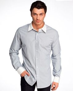 мужская рубашка с отделкой воротника и манжетов из контрастной ткани