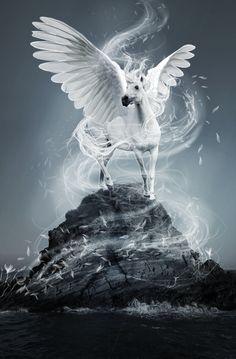 Pegasus ♡ Wind of Change by Kiwiaa on deviantART Unicorn And Fairies, Unicorn Fantasy, Unicorn Art, Mythical Creatures Art, Mythological Creatures, Magical Creatures, World Of Fantasy, Fantasy Art, Spiritual Animal