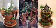 Aardewerk bloempotten kosten bijna niets, maar als je ziet wat je er allemaal mee kunt maken. #6 ga ik maken voor mijn tuin!