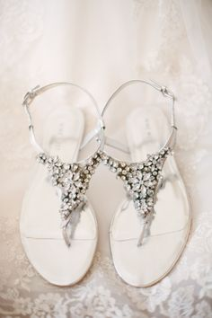 rhinestone wedding sandals, photo by britt croft (via 7 Wedding Shoe Rules via EmmalineBride.com)