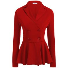 Lapel  Double Breasted Peplum  Plain Blazer (255 SEK) ❤ liked on Polyvore featuring outerwear, jackets, blazers, red peplum jacket, double breasted jacket, red blazer, red long jacket and lapel blazer
