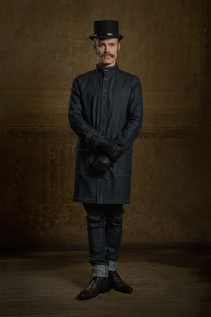 Martin Saar for Chapter One / handcrafted Artisan Coat topped with a top hat by Reval Denim Guild
