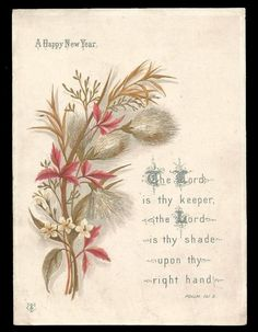 r96 victorian religious motto new year card floral scripture bible quote