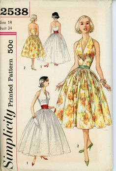 Simplicity 2538 Misses 1950s Dress Pattern Halter Evening Dress in Two Lengths with Cummerbund Womens Vintage Sewing Pattern Bust 34 UNCUT
