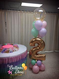 Ice Cream Party 2nd Birthday Pastel Balloon Bouquet Happy Birthday Blue, 2nd Birthday Party For Girl, Unicorn Birthday Parties, Birthday Party Themes, Birthday Balloon Decorations, Balloon Centerpieces, Birthday Balloons, Balloon Bouquet Delivery, Pastel Balloons