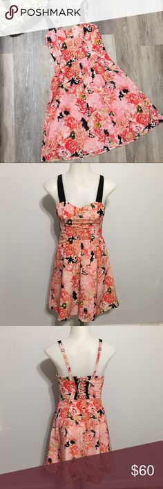 Candies Garden Dress Like new! No flaws! Gorgeous! Size 0. Candie's Brand. Coral. Peach. Black. Roses. Satin feel. 100% Polyester. Side zipper. Corset style tie back. Adjustable straps. Bundle & save!! Candie's Dresses
