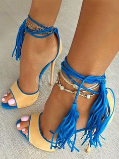 7cfa26a76f67 High Heel Sandals Women Shoes Blue Peep Toe Lace Up Sandal Shoes With  Tassels